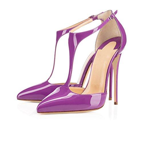 Escarpins Stilettos Pourpre Taille Elashe Courroie Aiguille Femmes T 12cm Talon Salomés Grande En Chaussures qddRZ6p