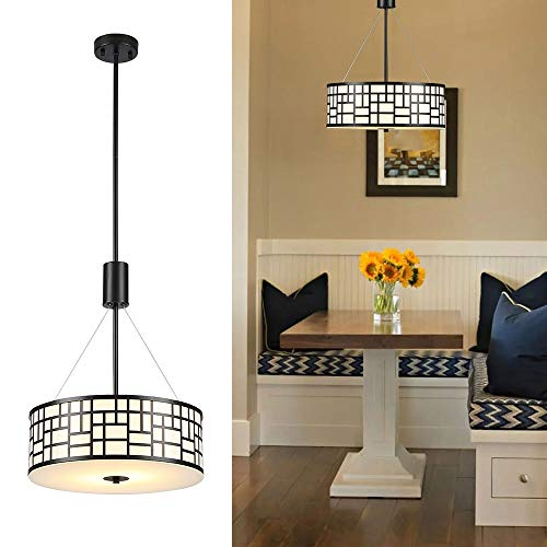 Cuaulans Modern 41'' H Chandeliers, Metal Drum Chandeliers with 2 Lights, Glass Diffuser + Black Painted (Fixture Drum Black Light)