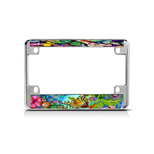 Butterflies Background Chrome Motorcycle Bike Metal License Plate Frame Tag BOR Perfect for Men Women Car garadge Decor
