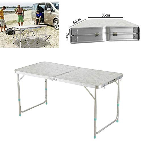 Enshey Folding Table- 4'/1.2M Portable Plastic Indoor Outdoor Picnic Party Dining Camp Tables Height Adjustable USA Shipping by Enshey