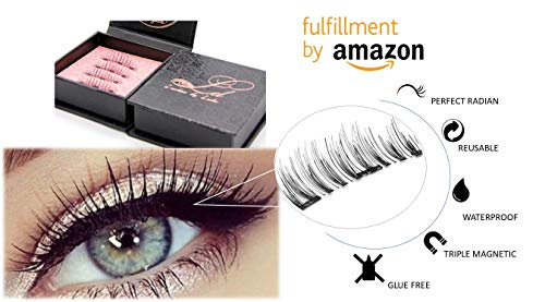 LD Triple Magnetic Eyelashes by Lulu | Magnet Ultra-thin 0.2mm|False Eyelashes Set for Dramatic Look| 3D Handmade Reusable Fake Lashes | No Glue [Glue Free]|Original extensions-Prime by LD Lashes