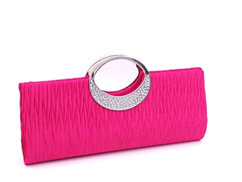 Satin Luxury Wedding BeAllure Rhinestone Pleated Party Clutch Women's Rose Purse X5Xqt
