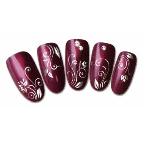 Nicedeco Beautiful & Fun & Colorful & Fashion Nail Stickers/Tattoo/Decal Water Transfer Stickers Shinny Silver - Shinny Silver