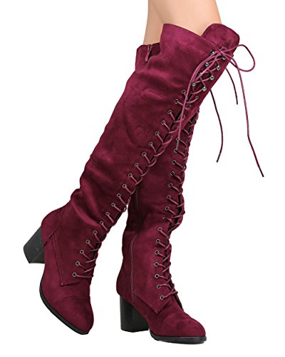 Nature Breeze FI01 Women Faux Suede Over The Knee Lace Up Chunky Heel Combat Boot - Wine (Size: 6.0)