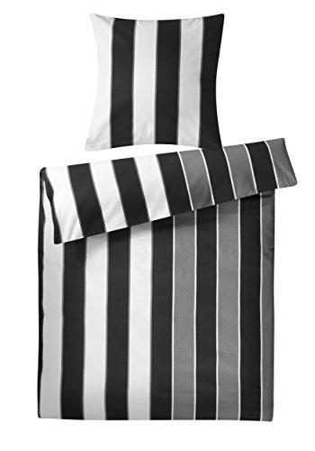 Genieße den Schlaf 4260216516221 Bettwäsche Set, 135 x 200 cm, Biber aus 100% Baumwolle, schwarz / weiß / grau
