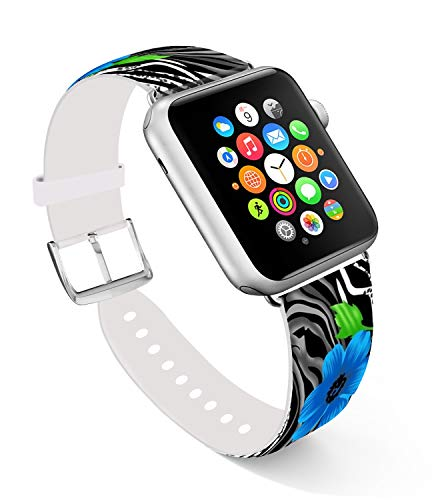 (for Apple Watch Band 40mm,Ecute Replacement Band Leather Iwatch Strap Compatible with Apple Watch 38mm/40mm Series 4/Series 3/Series 2/Series 1 -Leopard with Blue)
