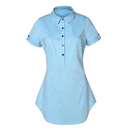 Comfy Womens Single Breasted Short Sleeve Denim Mini Dress