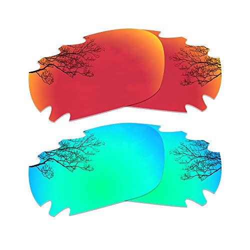 Dynamix Polarized Replacement Lenses for Oakley Jawbone/Racing Jacket - Multi Options (Fire Red + Emerald Green, Polarized Enhanced)
