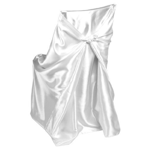 LinenTablecloth Satin Universal Chair Cover White