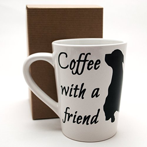 [Coffee with a Friend Dog Lover Custom Two Sided Mug Black and White (14oz)] (Donut Costume Pinterest)