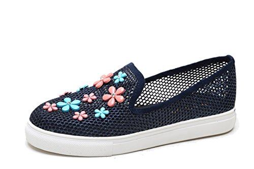 Sneakers Slip-on Da Donna Fashion Da Miele Scarpe In Mesh Traspiranti Blu Navy