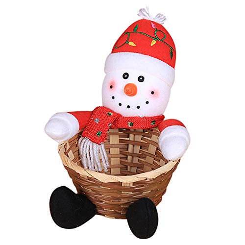 lotus.flower Christmas Candy Storage Basket - Santa Claus Storage Basket Gift Decoration Basket Santa/Snowman/Elk/Gingerbread Man/Penguin Home Decor Storage (Snowman) (Tin Christmas Santa)