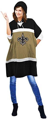 NFL New Orleans Saints Hoodie Poncho, 70.5 x 32-Inch, Black
