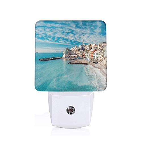 Colorful Plug in Night,Panorama of Old Italian Fish Village Beach Old Province Coastal Charm Image,Auto Sensor LED Dusk to Dawn Night Light Plug in Indoor for Childs Adults ()