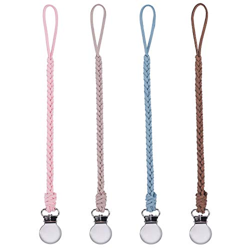 Hautoco 4 Pack Pacifier Clips Leather, Handmade Suede Braided Leash Pacifier Teething Toy Holders for Baby Boys and Girls from Hautoco