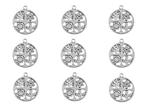 ALIMITOPIA 20pcs Four Seasons Symbol Hollow-Out Charm Pendant for DIY Necklace Bracelet Jewelry Making Findings(Antique Silver Tone)