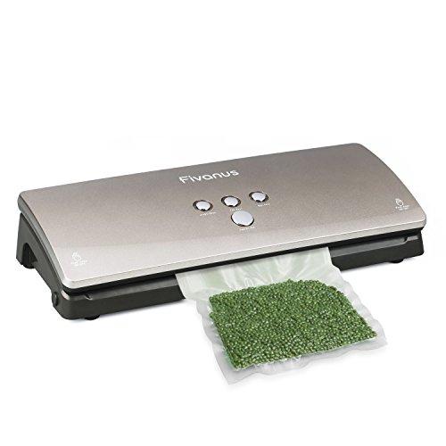 Fivanus Vacuum Sealer Automatic Vacuum Sealing System with Starter Kit 3MM Sealers Width Food Vacuum Saver Machine Dry/Moist Settings, Keep Fresh Up to 7x Longer, 10 Pcs Vacuum Pouches - Silver