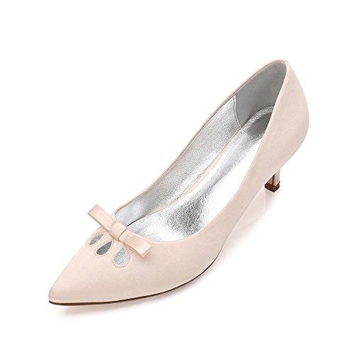 Stiletto MariéE YC Hauts Court Mariage De L Toe Low Femmes Boucle Fermé Stiletto Talons Chaussures Mid Bow De Champagne Chaussures Kitten WAqqHvwY