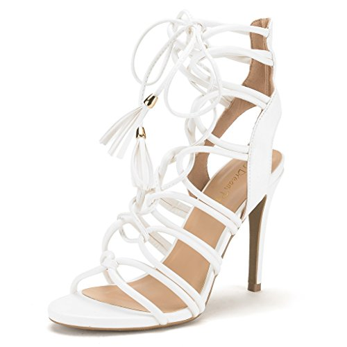 DREAM PAIRS STRAWS Women's New Strappy Gladiator High Heel Sandals Lace Up Open Toe Lady Ankle Shoes WHITE SIZE 8.5