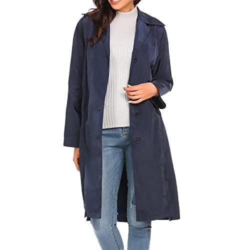 Nice Etuoji Women Lightweight Lapel Single-breasted Solid Casual Loose Trench Coat w/ Belt supplier