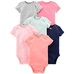 Simple Joys by Carter's 6-Pack Short-Sleeve Bodysuit Bambina, Pacco da 6 9