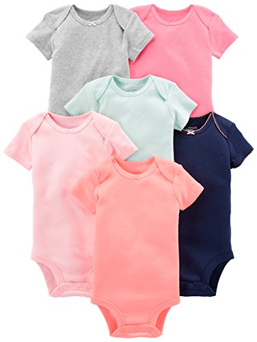 Simple Joys by Carter's Baby Girls' 6-Pack Short-Sleeve Bodysuit, Solid, 12 Months