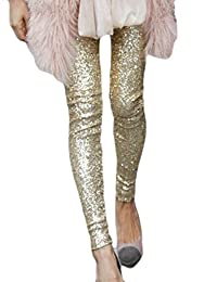 Cruiize Womens Sequins Solid Pencil Slim Tapered Legging Pant