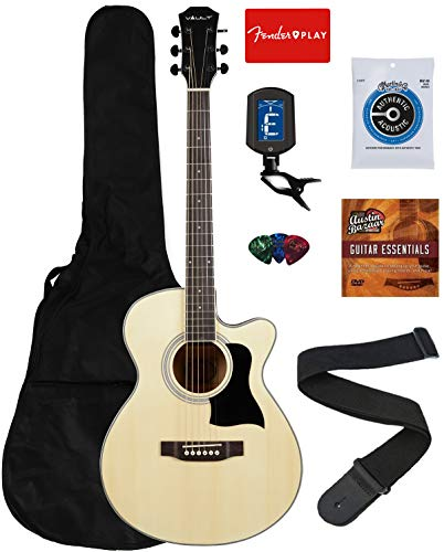 Vault 40-Inch Cutaway Acoustic Guitar – Natural Bundle with Gig Bag, Tuner, String, Picks, Strap, Fender Play Online Lessons, and Austin Bazaar Instructional DVD