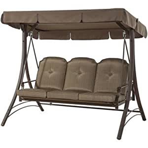 Mainstays 3-Seat Cushion Swing with Swing Cover (Dark Brown)