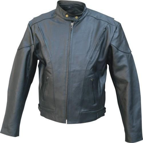 Mens NAKED Leather Motorcycle Touring Jacket European collar. Vented & ZIPOUT liner Sizes 40-60