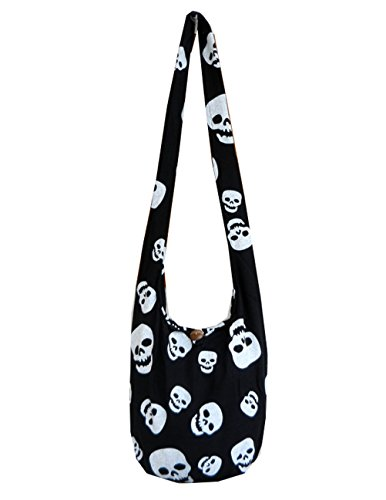 BTP! Skull Punk Rock Hippie Hobo Thai Cotton Sling Crossbody Bag Messenger Purse Small (Black SKS5)