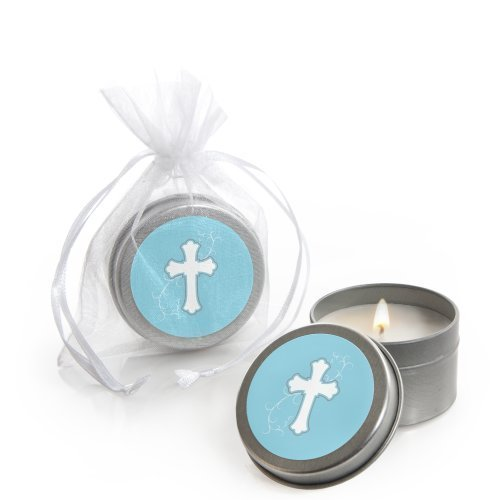 Little Miracle Boy Blue & Gray Cross - Baptism Candle Tin Party Favors (Set of 12) Blue Cross Candle Favors