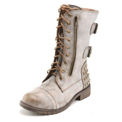 Harley 12 Womens Military Lace up Studded Combat Boot
