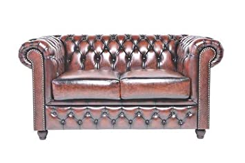 The Chesterfield Brand - 2 Seater Antique Brown Sofa - Full Real Leather