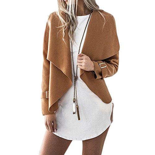 Femmes Manches Longues Lache Mode Casual Lapel Veste Petit Manteau Cardigan Court Jacket Ouvert Blazer Blouson Coat Kaki