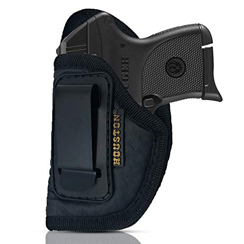 IWB Gun Holster by Houston - ECO Leather Concealed Carry Soft Material | Suede Interior for Protection | Fits: S&W Bodyguard,Taurus TCP, Sig P238, Jimenez JA, PPK380.Ruger LCP II (Left) (CHP-71-LH) (380 Pistol Pink Hand Grips)