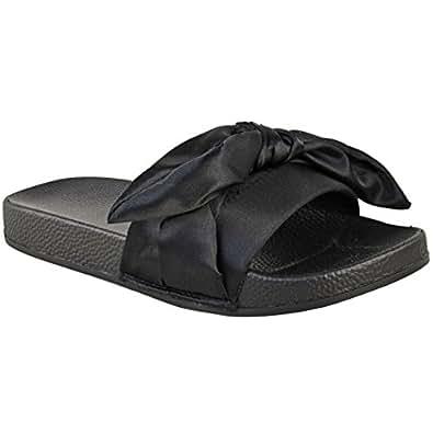 Fashion Thirsty Womens Flat Platform Sliders Satin Wedding Bridal Slippers Sandals Size 6 (US), 5.5 (AU)