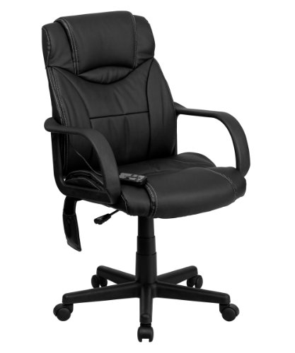 Offex BT-2690P-GG High Back Massaging Executive Office Chair, Black Leather