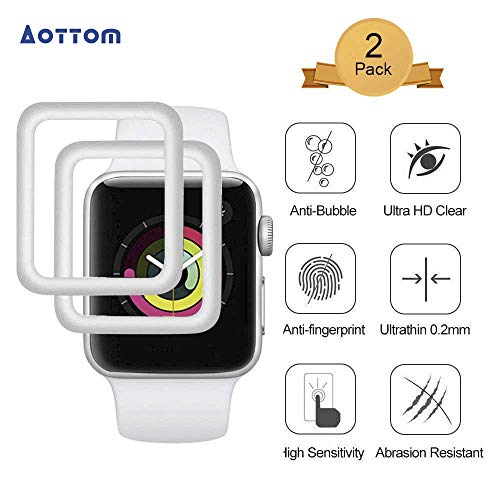 [2 Pack] Screen Protector for Apple Watch 38mm Aottom [3D Curved Edges Full Coverage] iWatch Screen Protector Protection Carbon Fiber Frame Edge Tempered Glass Film for 38mm Apple Watch Series 3/2/1 ()