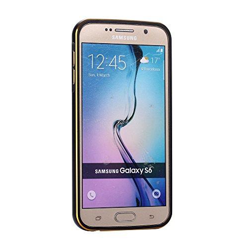 Samsung Galaxy S6 G9200 Funda Case LifeePro Stylish 2 in 1 Patrón de teléfono híbrido [Anti-rasguños] [Antideslizante] Resistente a los golpes PU Cuero Dorado Contraportada + Caja de parachoques de al Negro