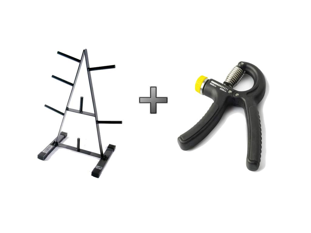 CAP Barbell* 500 lbs Weight Capacity 1-Inch Standard Plate Rack in Black Plus Durable Adjustable Hand Grip - Bundle Set