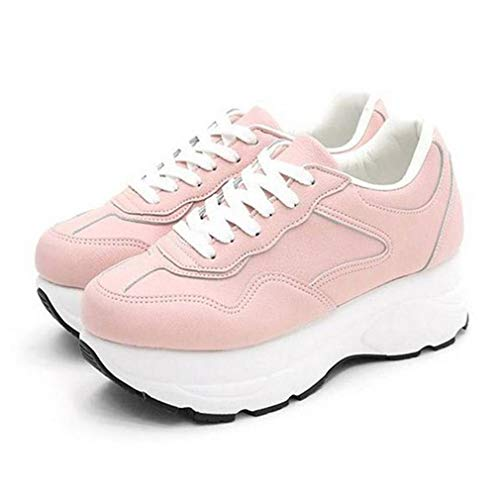 EpicStep Women's Pink Retro Chunky Lace Up Platform Wedge High Heel Chic Sneakers Trainers Shoes 7 M US