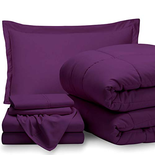 Bare Home Bed-in-A-Bag 5 Piece Comforter & Sheet Set - Twin - Goose Down Alternative - Ultra-Soft 1800 Premium - Hypoallergenic - Bare Breathable Bedding (Twin, Plum/Plum)