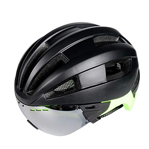 (ZWYY Bike Helmet with Detachable Magnetic Goggles Visor Shield Cycling Mountain Road Bicycle Helmets Adjustable Adult Safety Protection Helmet for Women Men,A)