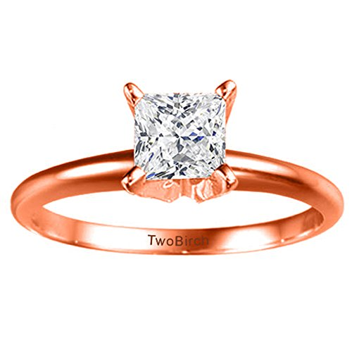 14k Rose Gold Traditional Style Princess Solitaire with Diamonds (0.1 ct. twt.)