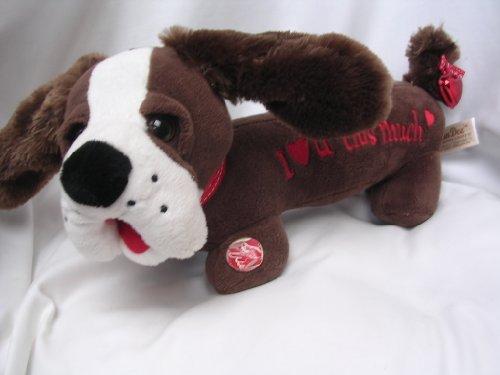 "Valentine Dog Electronic Plush Toy 15"" Large ; ""I Love U This Much"""