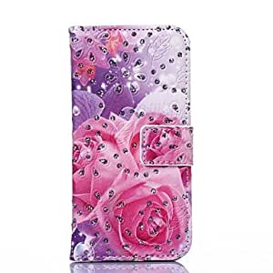 GJYAttractive Rose Pattern PU Leather Full Body Cover with Stand and Rhinestone for iPhone 6 Case 4.7 inch