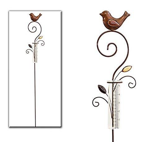 Regenmesser Metall / Gartenstecker Gartendeko Rostoptik mit Vogel unbekannt