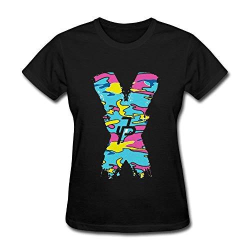 Womens Jake Paul X JP Cotton Tee Shirt Summer Tshirt Outfit O-Neck Clothes T Shirts for Women Girls Ladies Merchandise Black L