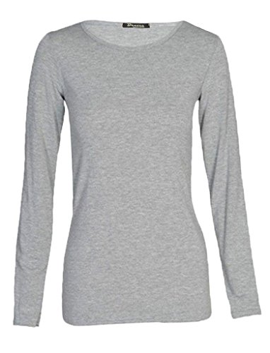 Funky Boutique - Camiseta de manga larga - para mujer gris claro